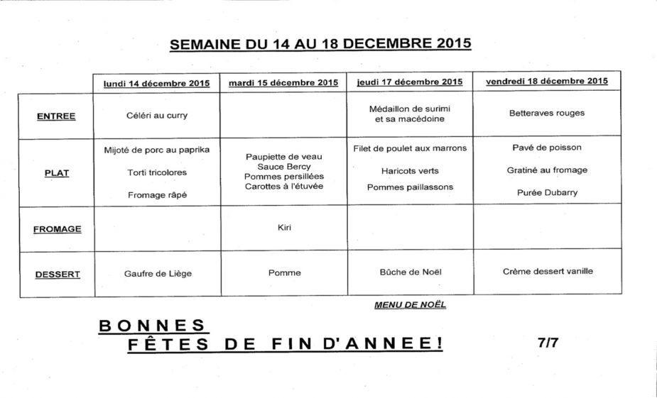 Cantine Scolaire Les Menus De La Semaine Du 14 Au 18 Decembre 2015